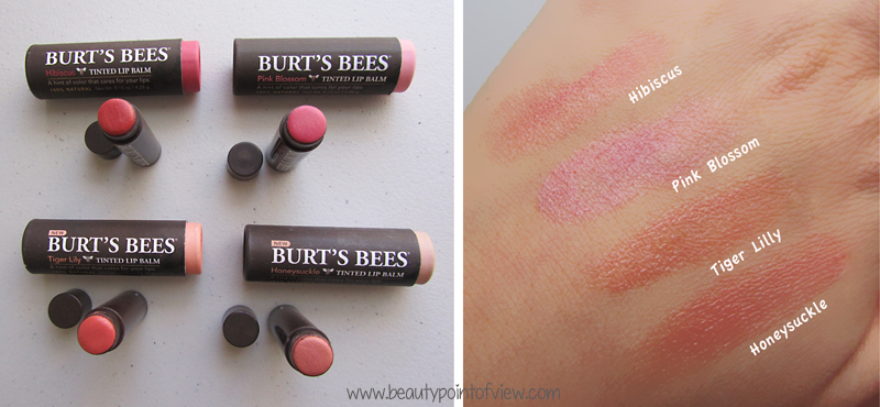 Burt's Bees Tinted Lip Balms Honeysuckle . Tiger Lily . Pink Blossom . Hibiscus . www.beautypointofview.com