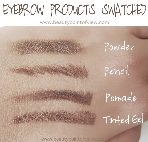 Eyebrow Product Swatches